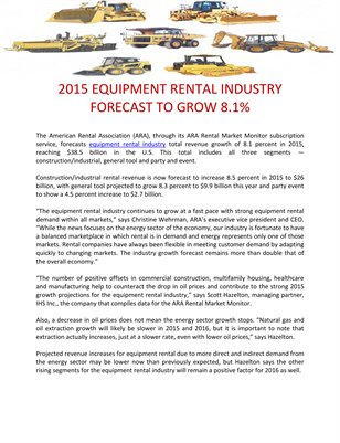 2015 EQUIPMENT RENTAL INDUSTRY FORECAST TO GROW 8.1%