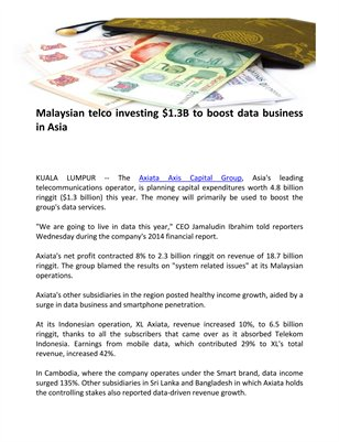Malaysian telco investing $1.3B to boost data business in Asia