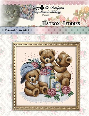 Hatbox Teddies Cross Stitch Pattern