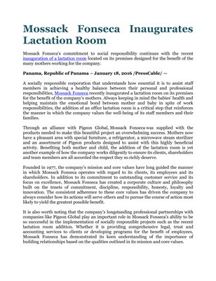 Mossack Fonseca Inaugurates Lactation Room