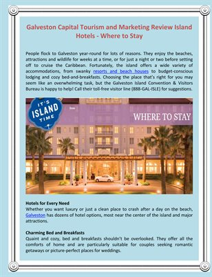 Galveston Capital Tourism and Marketing Review Island Hotels - Where to Stay