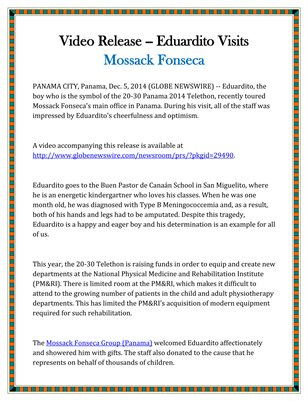 Video Release -- Eduardito Visits Mossack Fonseca