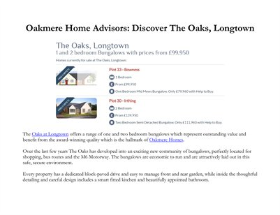 Oakmere Home Advisors: Discover The Oaks, Longtown