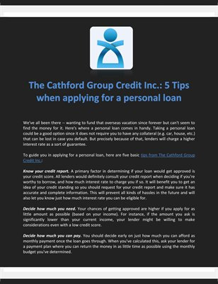 The Cathford Group Credit Inc.: 5 Tips when applying for a personal loan