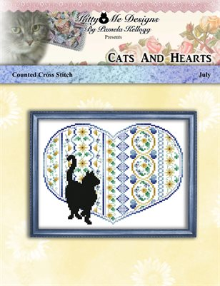 Cats And Hearts July Cross Stitch Pattern
