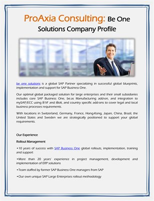 ProAxia Consulting: Be One Solutions Company Profile