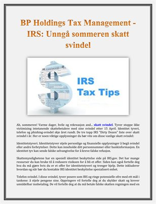 BP Holdings Tax Management - IRS: Unnga sommeren skatt svindel