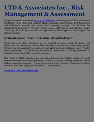 LTD & Associates Inc., Risk Management & Assessment