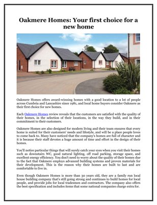 Oakmere Homes: Your first choice for a new home