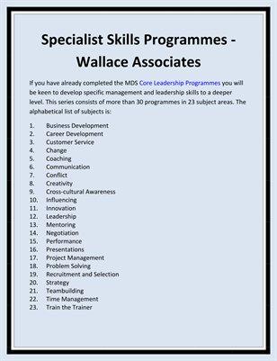 Specialist Skills Programmes - Wallace Associates