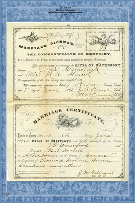 1892 Marriage License and Certificate for J.W. Crawford and Miss M.A. Harrell, Graves County, Kentucky