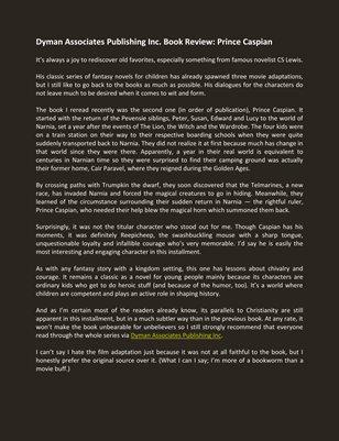 Dyman Associates Publishing Inc. Book Review: Prince Caspian