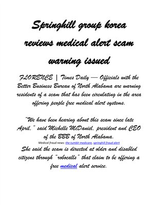 Springhill group korea reviews medical alert scam warning issued