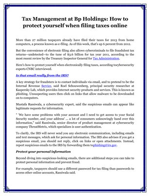 Tax Management at Bp Holdings: How to protect yourself when filing taxes online