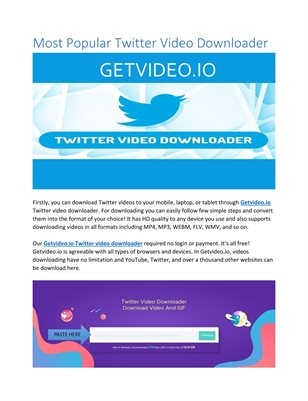 Most Popular Twitter Video Downloader