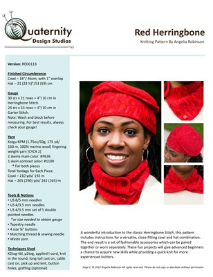 Red Herringbone Hat and Cowl Knitting Pattern
