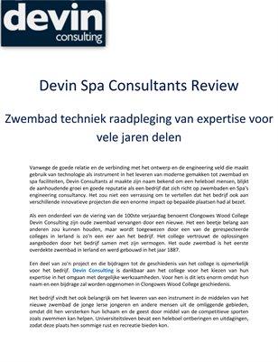 Devin Spa Consultants Review: Zwembad techniek raadpleging van expertise voor vele jaren delen