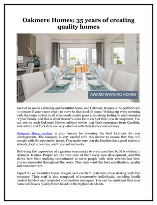 Oakmere Homes: 35 years of creating quality homes