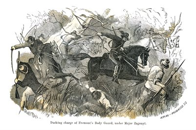 "1865 DRAWING OF ""DASHING CHARGE OF FREMONT'S BODY GUARD, UNDER MAJOR ZAGONYI"""