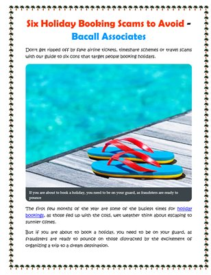 Six Holiday Booking Scams to Avoid - Bacall Associates