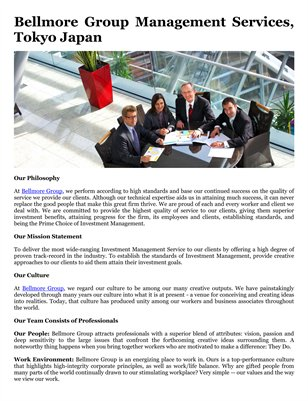 Bellmore Group Management Services, Tokyo Japan