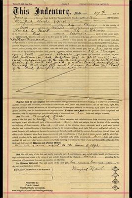 1893 Warranty Deed, Winifred Nash & Nancie L. Hart, Cook County, Illinois