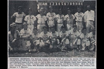 JULY 22,1956 PADUCAH'S NATIONAL LEAGUE ALL-STARS FIRST DISTRICT LITTLE LEAGUE BASEBALL