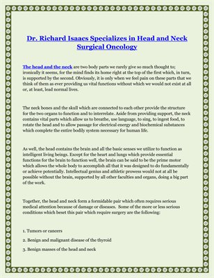 Dr. Richard Isaacs Specializes in Head and Neck Surgical Oncology