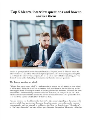 Top 5 bizarre interview questions and how to answer them