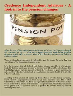 Credence Independent Advisors - A look in to the pension changes