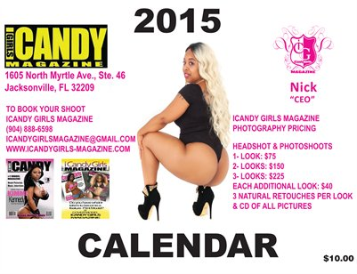 NEW ICANDY GIRLS MAGAZINE  2015 WHITE COVER CALENDAR WITH MS. JAZZY RED BONE ORDER YOUR COPY TODAY!!!
