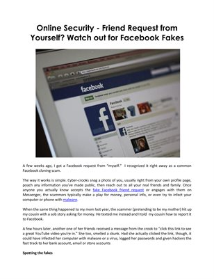 Online Security - Friend Request from Yourself? Watch out for Facebook Fakes
