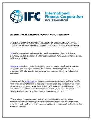 International Financial Securities: OVERVIEW