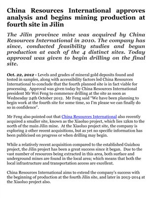 China Resources International approves analysis and begins mining production at fourth site in Jilin