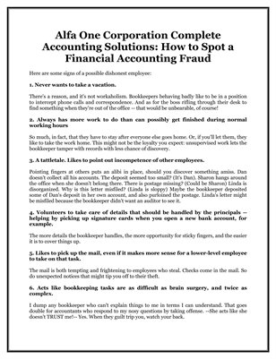 Alfa One Corporation Complete Accounting Solutions: How to Spot a Financial Accounting Fraud