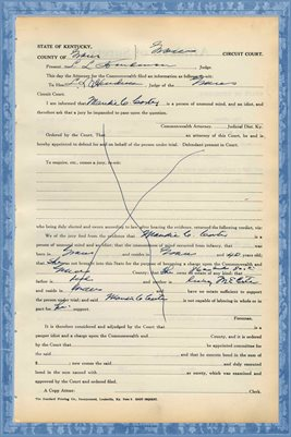 1939 State of Kentucky vs. MAUDIE CARTER, Graves County, Kentucky