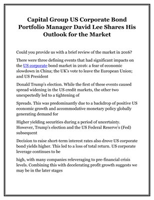 Capital Group US Corporate Bond Portfolio Manager David Lee Shares His Outlook for the Market
