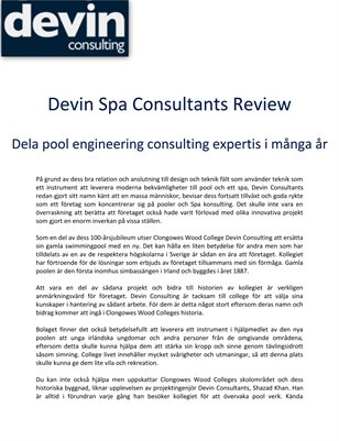 Devin Spa Consultants Review: Dela pool engineering consulting expertis i många år