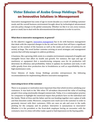 Victor Edozien of Asaba Group Holdings: Tips on Innovative Solutions in Management