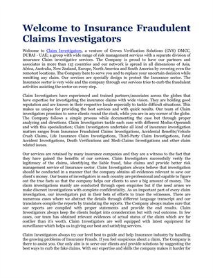 Welcome to Insurance Fraudulent Claims Investigators