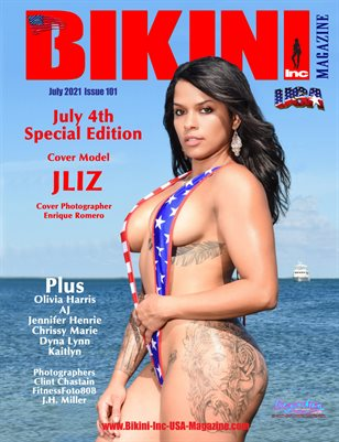 BIKINI INC USA MAGAZINE - 4th July Special Edition - Cover Model Jliz - July 2021