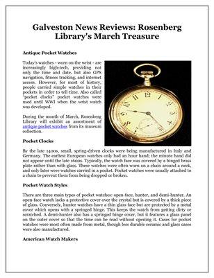 Galveston News Reviews: Rosenberg Library's March Treasure