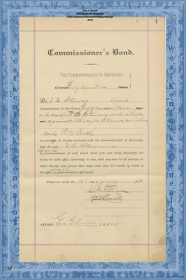 1888 COMMISSIONERS BOND, E.A. STROWS, GRAVES COUNTY, KY