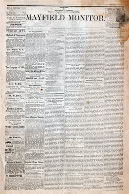 (PAGES 1-2) JULY 10th, 1880 MAYFIELD MONITOR NEWSPAPER, MAYFIELD, GRAVES COUNTY, KENTUCKY