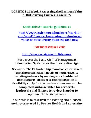 UOP NTC 411 Week 3 Assessing the Business Value of Outsourcing Business Case NEW