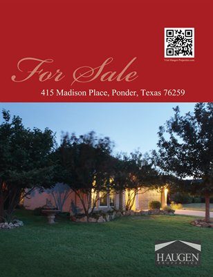 Haugen Properties -  415 Madison Place, Ponder, TX 76259