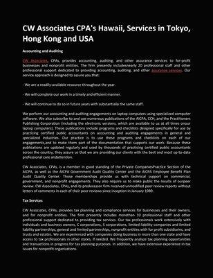 CW Associates CPA's Hawaii, Services in Tokyo, Hong Kong and USA