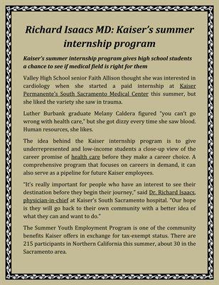 Richard Isaacs MD: Kaiser's summer internship program