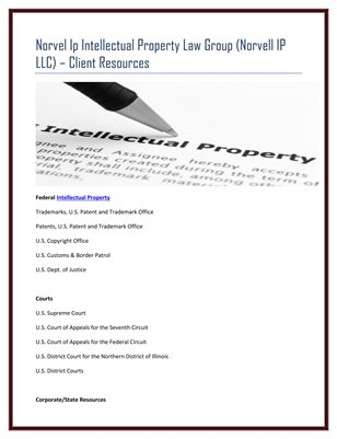 Norvel Ip Intellectual Property Law Group (Norvell IP LLC) – Client Resources