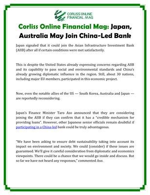 Corliss Online Financial Mag: Japan, Australia May Join China-Led Bank